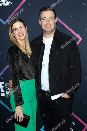 Siri Pinter and her spouce US television personality Carson Daly (R) arrive for the 2018 People's Choice Awards at Barker Hangar in Santa Monica, California, USA, 11 November 2018.
