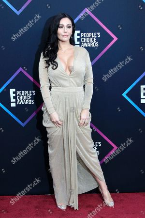 Jenni Farley, also known as JWoww, arriving for the 2018 People's Choice Awards at Barker Hangar in Santa Monica, California, USA, 11 November 2018.