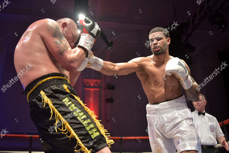 Stock Image of Julian Wilson (white shorts) defeats Jan Hrazdira during a Boxing Show at the Corn Exchange on 10th November 2018