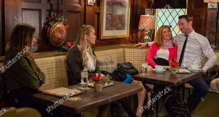 Ep 8322 Monday 26th November 2018 Gabby Thomas, as played by Rosie Bentham, and Leanna plot to break Liam Cavanagh, as played by Jonny McPherson, and Bernice Blackstock, as played by Samantha Giles, up.