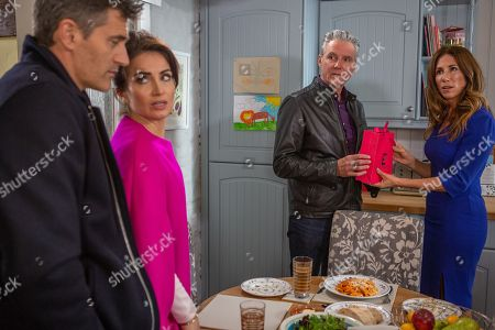 Ep 8317 Tuesday 20th November 2018 As Frank, as played by Michael Praed, and Clive, as played by Tom Chambers, discuss Leyla Harding, as played by Rokhsaneh Ghawam-Shahidi, she arrives and the pair are left concerned about what she's going to say. She explains to Clive she refuses to take part in their scheme and Frank is panicked when he is ordered to tell Megan Macey, as played by Gaynor Faye, about the con. Will Frank tell Megan the truth and will he back out of the deal?