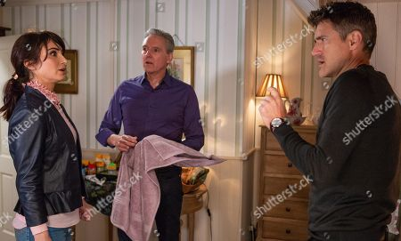 Ep 8316 Monday 19th November 2018 Con man Clive, as played by Tom Chambers, arranges a room at the B&B for the afternoon and fiancée Leyla Harding, as played by Rokhsaneh Ghawam-Shahidi, is suspicious when he leaves without his phone. Soon after Frank, as played by Michael Praed, and Clive sneak art supplies into the B&B. Before long Leyla bursts in and demands an explanation.