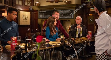 Stock Image of Ep 8311 Tuesday 13th November 2018 Marlon Dingle, as played by Mark Charnock, gets the wrong end of the stick and and convinces Ellis Grant, as played by Asan N'Jie, that he has a date with Victoria Barton, as played by Isobel Hodgins, leading to embarrassment all round when Victoria meets up with Leon, as played by Rob Norbury. With Eric Pollard, as played by Christopher Chittell.
