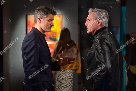 Ep 8315 Friday 16th November 2018 At the art gallery, Pollard spots a buyer he knows called Eleanor, as played by CHARLOTTE BECKETT. Clive, as played by Tom Chambers, tells Frank, as played by Michael Praed, that Eleanor is his mark and explains his plan to sell her a fake painting. Frank is gobsmacked, but will he shop him?