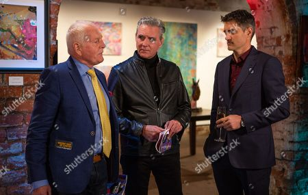Ep 8315 Friday 16th November 2018 At the art gallery, Pollard, as played by Chris Chittell, spots a buyer he knows called Eleanor, as played by CHARLOTTE BECKETT. Clive, as played by Tom Chambers, tells Frank, as played by Michael Praed, that Eleanor is his mark and explains his plan to sell her a fake painting. Frank is gobsmacked, but will he shop him?