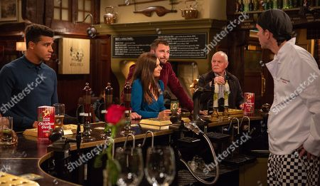Ep 8311 Tuesday 13th November 2018 Marlon Dingle, as played by Mark Charnock, gets the wrong end of the stick and and convinces Ellis Grant, as played by Asan N'Jie, that he has a date with Victoria Barton, as played by Isobel Hodgins, leading to embarrassment all round when Victoria meets up with Leon, as played by Rob Norbury. With Eric Pollard, as played by Christopher Chittell.