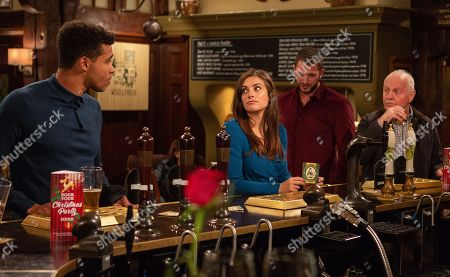 Stock Photo of Ep 8311 Tuesday 13th November 2018 Marlon Dingle gets the wrong end of the stick and and convinces Ellis Grant, as played by Asan N'Jie, that he has a date with Victoria Barton, as played by Isobel Hodgins, leading to embarrassment all round when Victoria meets up with Leon, as played by Rob Norbury. With Eric Pollard, as played by Christopher Chittell.