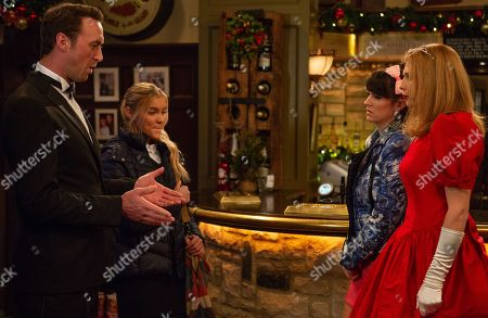 Ep 8324 Wednesday 28th November 2018 Leanna Cavanagh, as played by Mimi Slinger, convinces Bernice Blackstock, as played by Samantha Giles, she has made the wrong choice of dress for the gala, and Bernice rushes into town to amend her mistake. However, when Bernice later arrives in the Woolpack wearing an awful ball gown she quickly realises Leanna has set her up and she's left upset when Liam Cavanagh, as played by Jonny McPherson, sides with his daughter. With Kerry Wyatt, as played by Laura Norton.