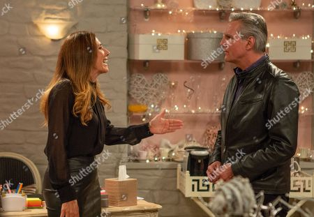 Ep 8323 Tuesday 27th November 2018 When Megan Macey, as played by Gaynor Faye, finds out about the con she tells Frank, as played by Michael Praed, they're finished but is Leyla set to lose all also?