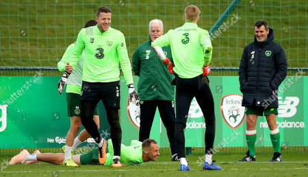 Colin Doyle, Caoimhin Kelleher, Harry Arter and David Meyler with goalkeeper coach Seamus McDonagh and Assistant Manager Roy Keane