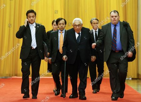 Former U.S. Secretary of State Henry Kissinger arrives for a meeting with Chinese President Xi Jinping (not pictured) at the Great Hall of the People in Beijing, China, 08 November 2018.