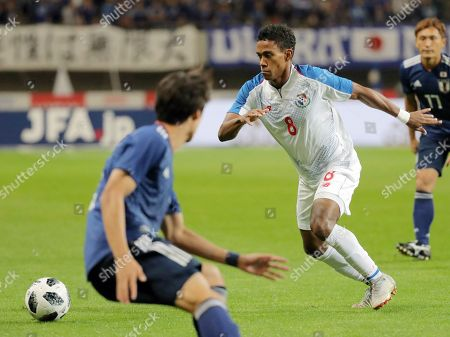 Panama's Edgar Barcenas in action during a friendly soccer match against Japan in Niigata, Japan, 12 October 2018. Japan won the match.