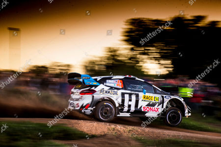 Ken Block of the USA drives his Ford Fiesta WRC during the shakedown of the Rally of Spain 2018 as part of the World Rally Championship (WRC) in Barcelona, Spain, 25 October 2018.