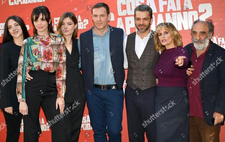 Italian actresses Arianna Ninchi, Ilenia Pastorelli and Vittoria Puccini, Italian director Filippo Bologna, Italian actors Luca Argentero, Isabella Ferrari and Alessandro Haber pose during the photocall for 'Cosa fai a Capodanno?' (lit.: What do you do on New Year's Day?) in Rome, Italy, 12 November 2018. The movie opens in Italian theaters on 15 November.