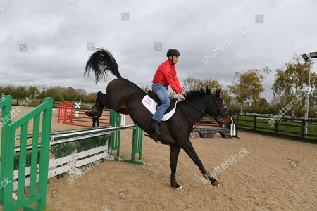 Jockey Ap McCoy And Legends Richard Dunwoody Peter Scudamore And John Francome Prepare For Olympia And Demonstrate Their Showjumping Abilities.