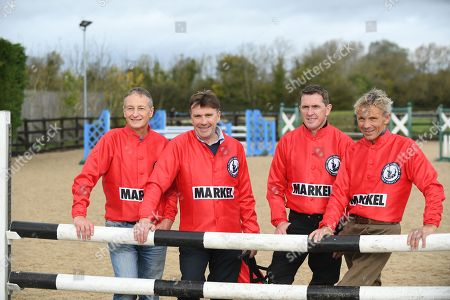 Stock Image of Jockey Ap McCoy And Legends Richard Dunwoody Peter Scudamore And John Francome Prepare For Olympia And Demonstrate Their Showjumping Abilities.