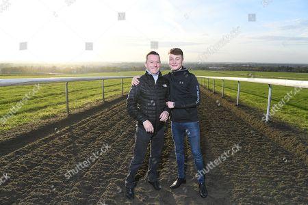 Jockey Kieren Fallon And His Son Cieren Photographed At Warren Hill Newmarket.