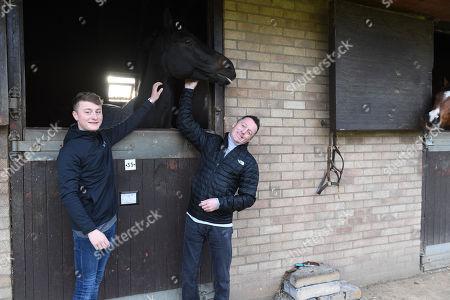 Jockey Kieren Fallon And His Son Cieren Photographed Newmarket.