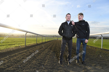 Editorial picture of Jockey Kieren Fallon And His Son Cieren Photographed At Warren Hill Newmarket. Pic Andy Hooper/daily Mail.