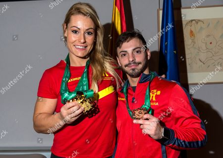 Spanish weightlifter Lidia Valentin (L), three-times World chamipon, and Josue Brachi, who won a bronze medal, pose for the photographers during a reception held in honor of the spanish weight-lifting team in Madrid, Spain, 12 November 2018, after the World Championship held in Turkmenistan.