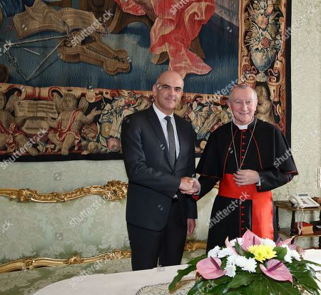 The President of Switzerland Alain Berset with cardinal Pietro Parolin, Vatican Secretary of State