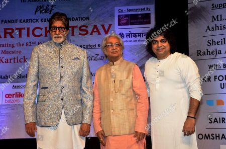 Indian film actor Amitabh Bachchan, Kartick Kumar and musician Niladri Kumar