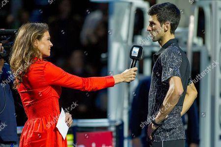 Former British Number One tennis player Annabel Croft interviews Novak Djokovic (SRB) following his win over John Isner (USA)