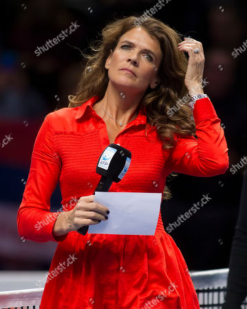 Former British Number One tennis player Annabel Croft prepares to interview Novak Djokovic (SRB)