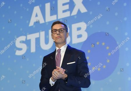 A candidate to lead EPP, Alexander Stubb of Finland delivers a speech at the European People's Party (EPP) congress