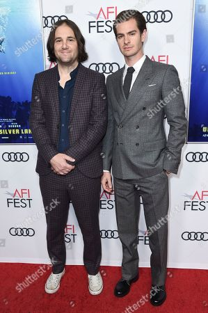 """David Robert Mitchell, Andrew Garfield. David Robert Mitchell, left, and Andrew Garfield attend a special screening of """"Under the Silver Lake"""" during the 2018 AFI Fest at the Egyptian Theatre, in Los Angeles"""