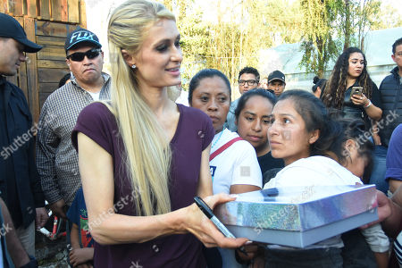 Editorial photo of Paris Hilton visits the community of San Gregorio that was affected by the earthquake, Xochimilco, Mexico - 12 Nov 2018