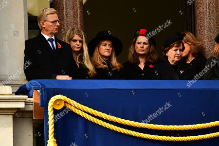 Susan Williams-Walker (third left) and Sarah Brown (second right) and Diane Dodds (right) during the remembrance service at the Cenotaph memorial in Whitehall, central London, on the 100th anniversary of the signing of the Armistice which marked the end of the First World War.