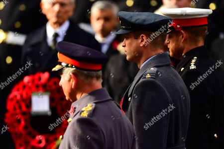 (left to right) Prince Charles, Prince William and the Prince Harry during the remembrance service at the Cenotaph memorial in Whitehall, central London, on the 100th anniversary of the signing of the Armistice which marked the end of the First World War.