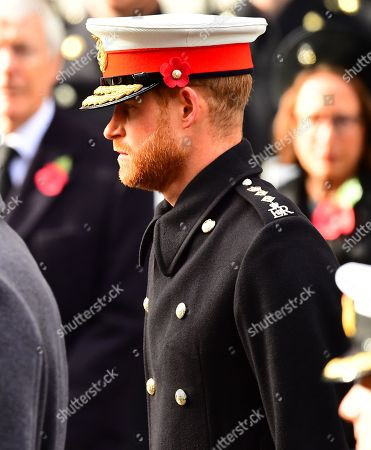 Prince Harry during the remembrance service at the Cenotaph memorial in Whitehall, central London, on the 100th anniversary of the signing of the Armistice which marked the end of the First World War.