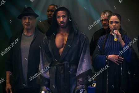 Sylvester Stallone as Rocky Balboa, Wood Harris as Tony 'Little Duke' Burton, Michael B. Jordan as Adonis Creed, Jacob 'Stitch' Duran as Stitch-Cutman and Tessa Thompson as Bianca