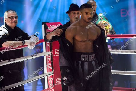 Jacob 'Stitch' Duran as Stitch-Cutman, Sylvester Stallone as Rocky Balboa, Michael B. Jordan as Adonis Creed and Wood Harris as Tony 'Little Duke' Burton