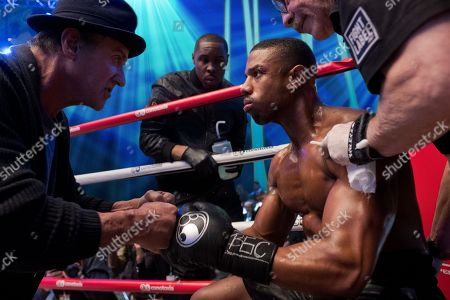 Sylvester Stallone as Rocky Balboa, Wood Harris as Tony 'Little Duke' Burton, Michael B. Jordan as Adonis Creed and Jacob 'Stitch' Duran as Stitch-Cutman