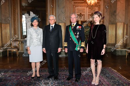 (L-R) Sweden's Queen Silvia, President Sergio Mattarella of Italy, Swedish King Carl Gustaf XVI and Laura Matarella, daughter of President Matarella pose during a welcoming ceremony at the Royal Palace in Stockholm, Sweden, 13 November 2018. The President of Italy is on a three-day state visit to Sweden.