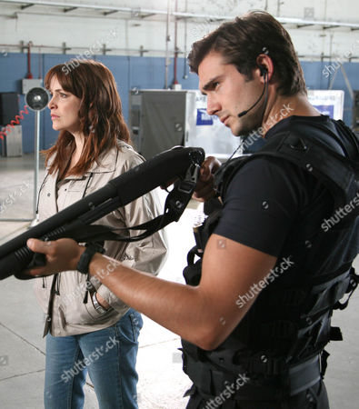 'Primeval' TV programme - Series 3: L-R: Hannah Spearritt as Abby Maitland, Lucy Brown as Jenny Lewis and Ben Mansfield as Captain Becker