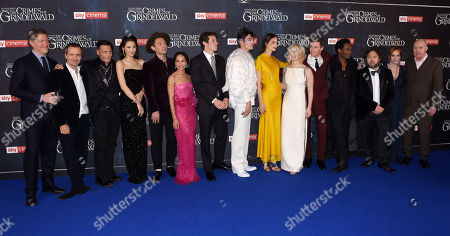 Lionel Wigram, David Heyman, Johnny Depp, Claudia Kim, Jude Law, Zoe Kravitz, Callum Turner, Ezra Miller, Katherine Waterston, Alison Sudol, Eddie Redmayne, William Nadylam, Dan Fogler, J.K. Rowling and David Yates