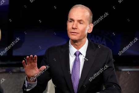 """Boeing CEO Dennis Muilenburg is interviewed by Maria Bartiromo during her """"Mornings with Maria Bartiromo"""" program on the Fox Business Network, in New York"""