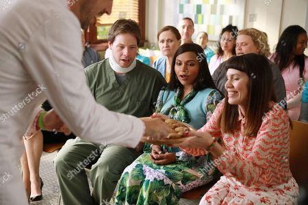 Ike Barinholtz as Morgan Tookers Mindy Kaling as Dr. Mindy Lahiri and Tipper Newton as Karen