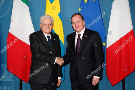 Swedish prime minister Stefan Loefven (R)  welcomes President Sergio Mattarella of Italy upon his arrival for talks at Adelcrantska huset in Stockholm, Sweden, 13 November 2018. The President of Italy is on a three day State Visit to Sweden.
