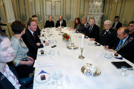 Swedish prime minister Stefan Loefven (C-L)  meets President Sergio Mattarella of Italy (C-R) for talks at Adelcrantska huset in Stockholm, Sweden, 13 November 2018. The President of Italy is on a three day State Visit to Sweden.