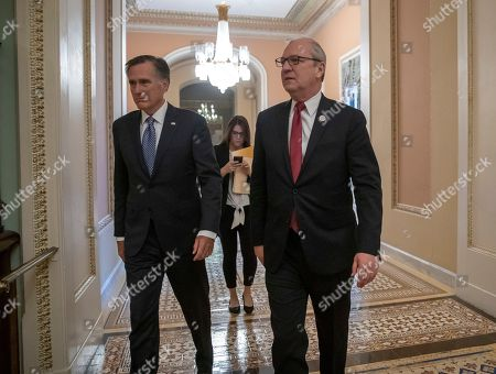 Kevin Cramer, Mitt Romney. New GOP senators-elect, Rep. Kevin Cramer, R-N.D., center, and Mitt Romney of Utah, left, leave a meeting in the office of Senate Majority Leader Mitch McConnell, R-Ky., at the Capitol in Washington, . Cramer ousted incumbent Sen. Heidi Heitkamp, D-N.D., and Romney replaces retiring Sen. Orrin Hatch of Utah, who has been in the Senate since 1977