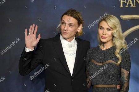 Jamie Campbell Bower (L) arrives at the UK premiere of Fantastic Beats the Crimes of Grindelwald in London, Britain, 13 November 2018.