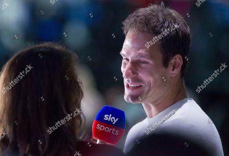 Bournemouth Goalkeeper Asmir Begovic is interviewed by former British number One tennis player Annabel Croft