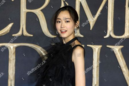 Mirei Kiritani poses for photographers on arrival at the premiere of the film 'Fantastic Beasts: The Crimes of Grindelwald', in London
