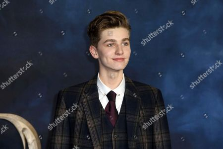 Actor Joshua Shea poses for photographers on arrival at the premiere of the film 'Fantastic Beasts: The Crimes of Grindelwald', in London