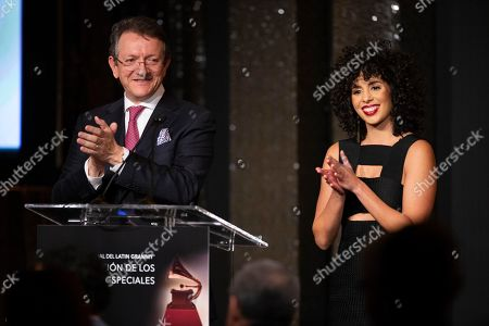 Gabriel Abaroa Jr., Raquel Sofia. Latin Recording Academy President and CEO Gabriel Abaroa Jr., left, and Raquel Sofia speak